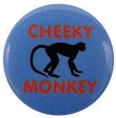 Cheeky Monkey - 'Blue'  Button Badge